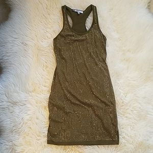Racer back olive green with gold studs dress